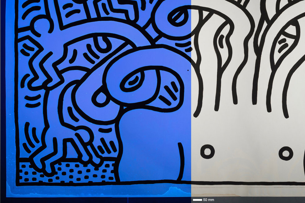 Abb.: Keith Haring, Medusa Head, 1986, before treatment (detail UVA/VIS), private owner (Photo: S. Dieter, M. Röhrle)