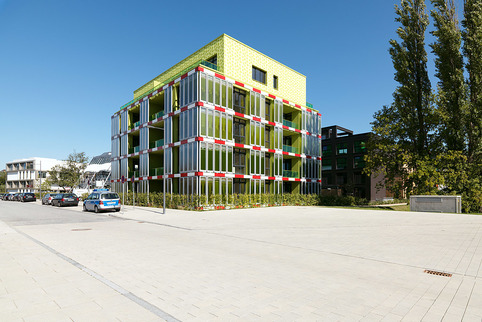 """The Clever Treefrog, Photo-Bioreactor-Facade""; 2013; Foto: Paul Ott; Sammlung SPLITTERWERK"