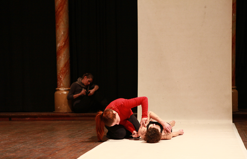 """Zeig Her, Für Vor, Tausch Ein – presence is the artist. Vol.2"".  Performances and symposium, in collaboartion with Johannes Paul Raether, State Academy of fine Arts, Stuttgart, 2012. Photo: IMG"