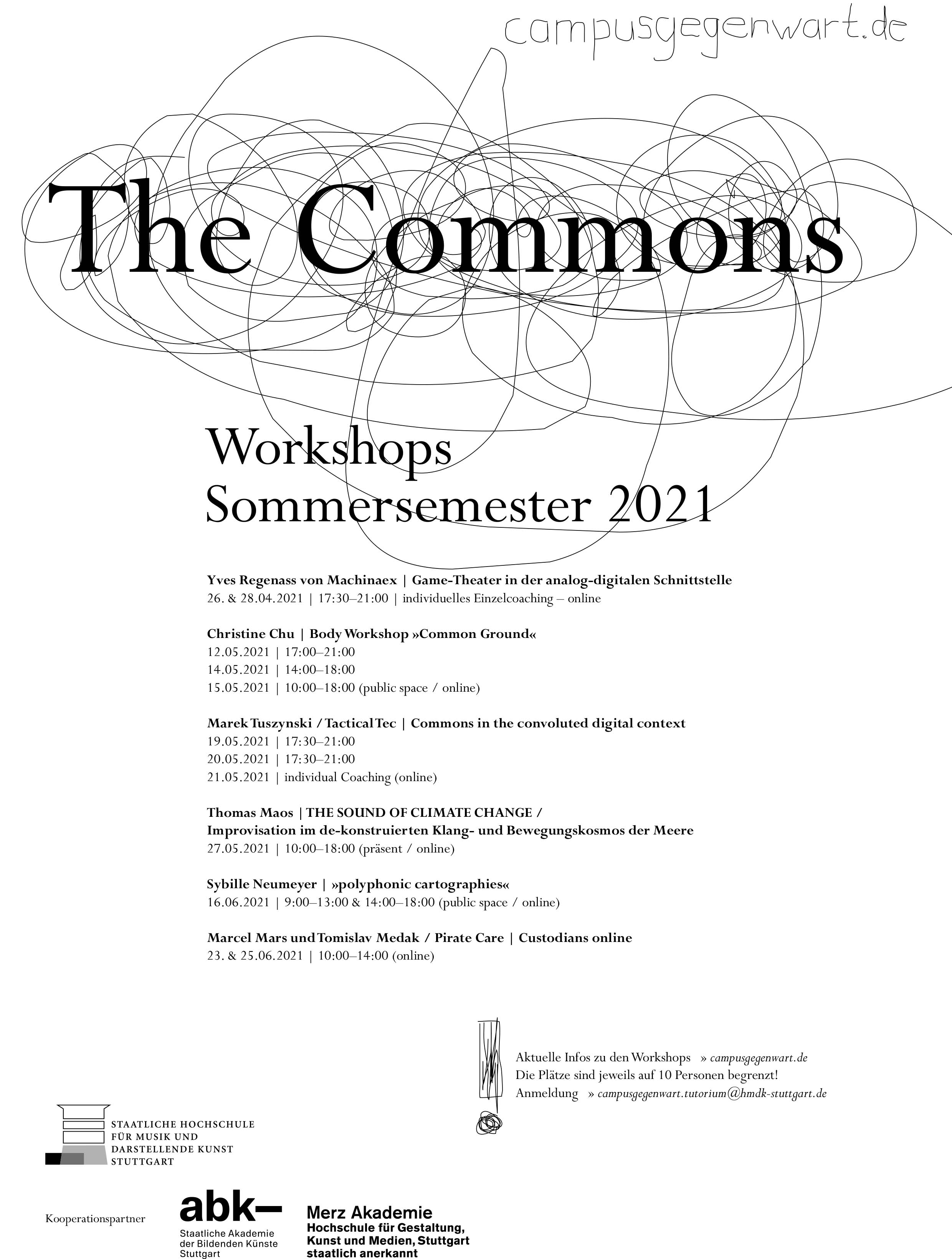 "Campus Gegenwart: ""The Commons"" – Workshops im Sommersemester 2021"